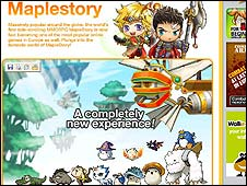 Screen grab from Maple Story online game