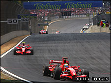 Felipe Massa leads Ferrari team-mate Kimi Raikkonen at the 2007 Brazilian Grand Prix