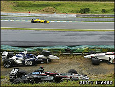 Crashed cars during the 2003 Brazilian Grand Prix