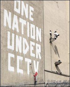 Banksy's CCTV mural on Newman Street