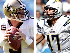 Drew Brees of the Saints and Philip Rivers of the Chargers