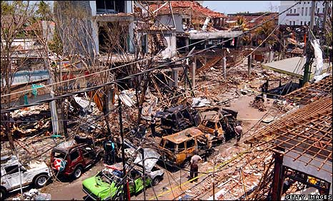 View of the bomb blast site in Kuta, Bali, on 16/10/2002