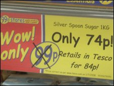A discount sign in 99p store