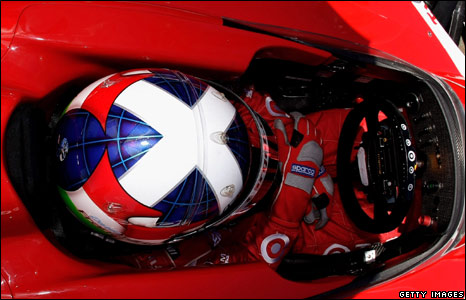 Scottish IndyCar driver Dario Franchitti prepares for a practice run before the Nikon Indy 300 race in Australia