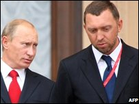 Russian prime minister Vladimir Putin and Mr Deripaska