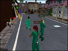 A Second Life scene with paramedics attending a drunk