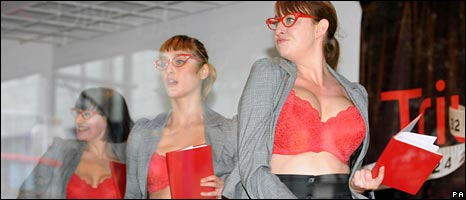 Bra models in shop window
