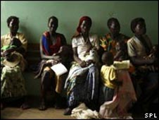Women at a clinic in Uganda