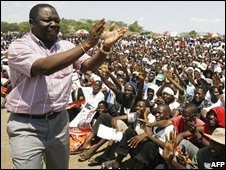 Morgan Tsvangirai at a rally in Masvingo, 19 October 2008