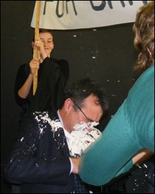 Phil Woolas hit by pie