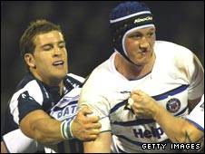 Stuart Hooper (right) scored a vital try for Bath at Edgeley Park