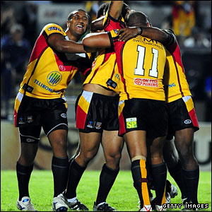 Papua New Guinea celebrate after Jason Chan's try