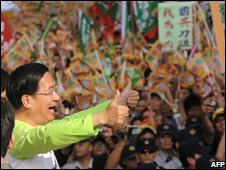 Former Taiwan president Chen Shui-bian at Taipei rally 25 October