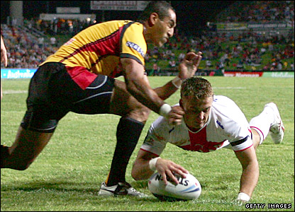 Lee Smith touches down for his hat-trick try against Papua New Guinea in Townsville