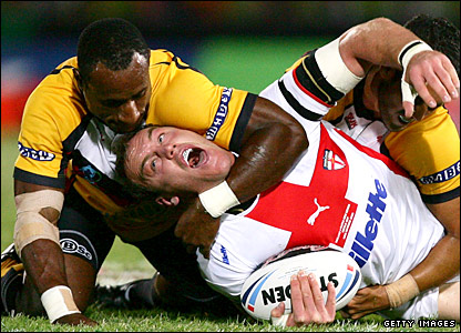 Gareth Ellis appeals for a high tackle to referee Shane Hayne