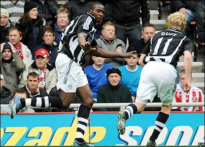 Ameobi celebrates his equaliser