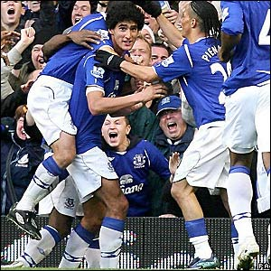 Everton celebrate their equaliser