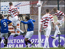 Brian Easton heads Accies into the lead