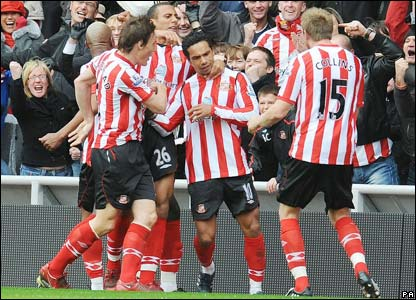 Sunderland celebrate their second goal