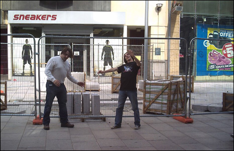 People pretending to be Autons in Cardiff city centre
