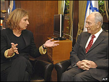 Foreign Minister Tzipi Livni with Israeli President Shimon Peres, 20-10-2008
