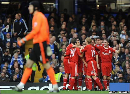 Liverpool celebrate their early goal