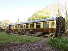 Holiday apartments in carriage at Coalport, Shropshire