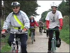 Cyclists on former rail route in Stratford-upon-Avon