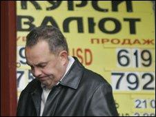 Man counts his cash in Ukraine