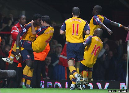 Arsenal celebrate their second goal