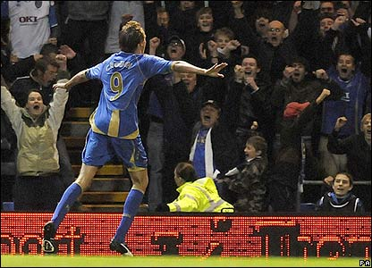 Crouch celebrates making it 1-0