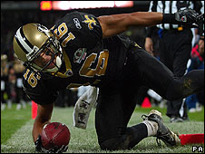 Lance Moore scored off Drew Brees's second touchdown pass