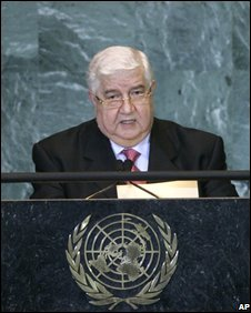 Syrian Foreign Minister Walid al-Muallem at the UN