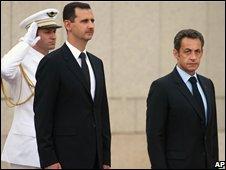 Syrian president Bashar al-Assad and French President Nicolas Sarkozy