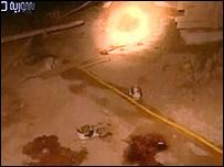 صورة من التلفزيون السوري لبقع دم في موقع الهجوم