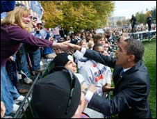 Senator Obama has been drawing huge crowds at his rallies.