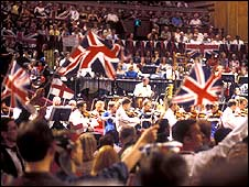 Flags being waved at the last night of the Proms