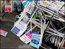 Pile of sale signs