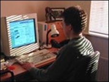 A man uses his computer