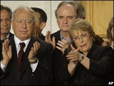 President Michelle Bachelet (right) at La Moneda government palace after Sunday's elections