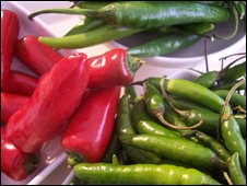 A plate of chillies