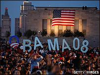 Evento en el Memorial Liberty a favor de Barack Obama. Foto de archivo: 18 de octubre de 2008