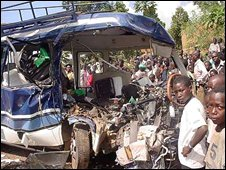 Wreckage of a bus in Uganda