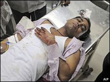 A bus passenger in Mumbai, India, who was injured in the firing incident on 27 October 2008