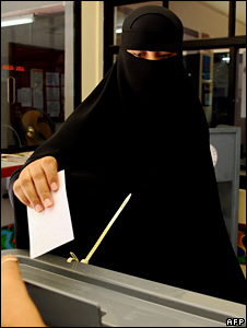 A woman in Maldives casts her ballot on October 28 2008
