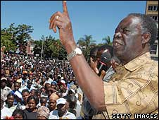 Michael Sata at a rally