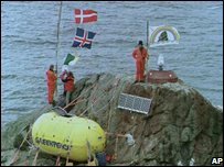 Green peace activists on Rockall island