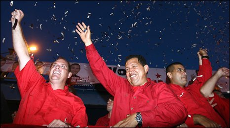 Mr Chavez waves to supporters at a campaign event on 24 October