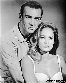 Sean Connery and Ursula Andress in a publicity still for Dr No