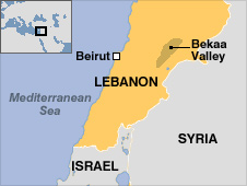 Map showing Bekaa Valley